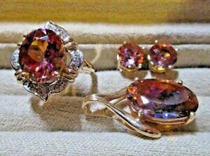 Sunset Topaz & Diamond 14kt Yellow Gold Ring, Pendant & Earrings Set or Suite