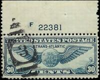 VEGAS - 1939 Sc# C24 - Transatlantic Issue - Used With Plate Number - (FA16)