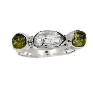 Herkimer Diamond - USA & Moldavite 925 Silver Ring Jewelry s.6 BR91641