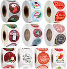 Christmas Stickers Merry Xmas Labels Happy Holidays Cards Gifts Presents 25mm