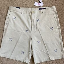 "Vineyard Vines Men's 38� Lacrosse Embroidered 9"" Breaker Shorts Stone/Beige B2"