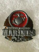 Vintage Pewter Enamel United States Marines Lapel Pin USMC US Marine Corps Badge