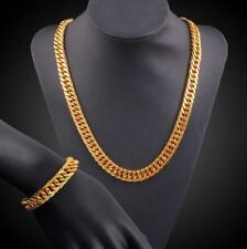 Men's 18k Gold Plated Cuban Chain Necklace Bracelet Hip Hop Jewelry Set