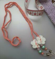 Pink Crochet Eyeglasses Strap with Crochet Butterflies. Crochet Glasses Strap.
