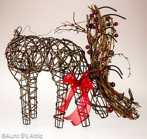 Reindeer Table Top Decor Wire Frame Twig & Berry Standing Deer Holiday Decor