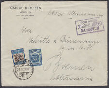 1933 Colombia Airmail to Bremen, Germany