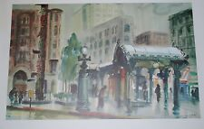 "JESS CAUTHORN ""PIONEER SQUARE"" WATERCOLOR LITHOGRAPH, 1963"