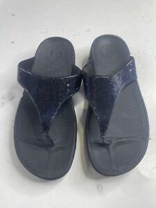 Fitflop Lulu Glitter Toe-Thongs Midnight Navy Women's US 9 Sandal Side