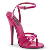 Devious DOMINA-108 Women's Hot Pink Patent Heel Wrap Around Knotted Strap Sandal