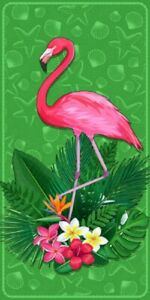 New Garden Green Flamingo Beach Bath Pool Gift Towel Bird Pink Starfish Shells