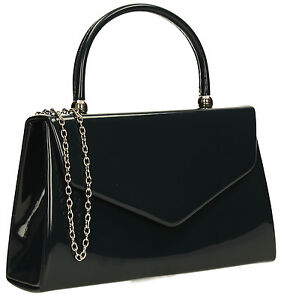 Women Kendall Patent Leather Envelope Ladies Evening Party Prom Smart Clutch Bag