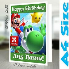 Birthday card SUPER MARIO Personalised A4 Girl Boy Daughter Son Male Female