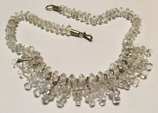 Vintage Art Deco Choker Necklace Swag Fringe Bib Collar Clear Glass Beads 20s