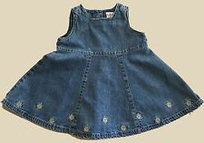 Baby Gap Infant Girl Jumper Sz 6-12 mo Blue Denim Sleeveless Embroidery Flowers