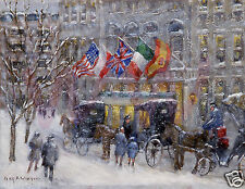 Vintage New York Painting/Poster/ 'Cabbies at the Plaza'/Guy Wiggins / 1900's