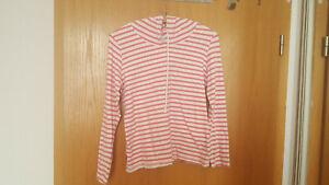 Damen  T-Shirt  Weiß/ Rot mit Kapuze