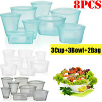 8X/Set Silicone Food Storage Bags Leakproof Containers Plastic-Free Reusable