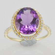 8x10mm Oval Cut Solid 14k 585 Yellow Gold Natural Amethyst Diamond Wedding Ring