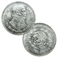 2 Large Uncirculated SILVER Mexico Un Peso Coins! ~> Jose Morelos! ~>>