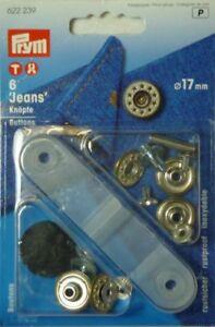 Prym 6 Sewing-Free 17mm Old Brass / Matt White Topside Open
