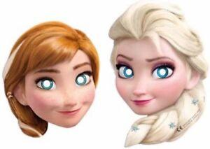 Frozen Face Masks Elsa Anna Partyware Children's Party Decorations x 6