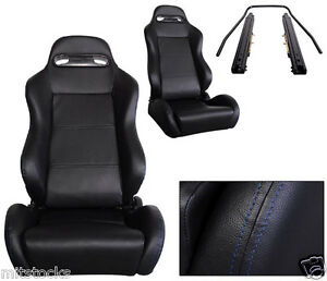 2 BLACK LEATHER BLUE STITCH RACING SEATS RECLINABLE + SLIDERS VOLKSWAGEN NEW **