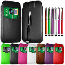 CARD SLOT PU LEATHER PULL FLIP TAB CASE COVER & STYLUS PEN FOR SAMSUNG PHONES