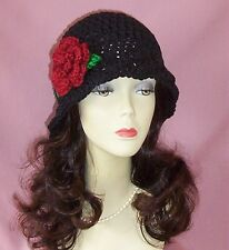 Black Crochet Flapper Style 1920s Cloche Hat Red Flower