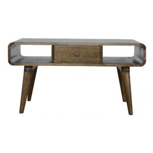 Grey Washed Coffee Table 1 Drawer Living Room Furniture Handmade 100% Solid Wood