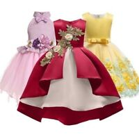 Girls Silk Princess Dresses For Wedding Party For Toddler Children Clothing
