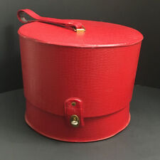 Vintage 1960's Carry All Hat Box Or Travel Wig Case Red