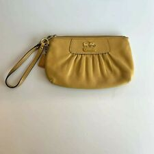 Coach Yellow Gold Leather Wristlet Clutch Purse Bag C3