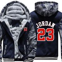 Mens Fur Fleece Hooded Michael Jordan 23 Coat Hoodie Men Jacket Overcoat Outwear