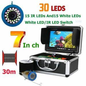 "Fishing Camera Fish Finder Underwater 7"" Inch 15m 30m 50m 1000tvl Infrared Lamp"