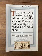 ANTIQUE MAY 1923 CALENDAR OSBOLDSTONE CO MELBOURNE PRINTER VINTAGE CARD