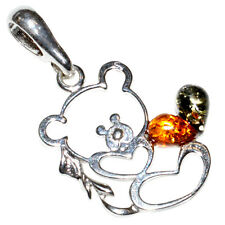 1.66g Bear Authentic Baltic Amber 925 Sterling Silver Pendant Jewelry A667A