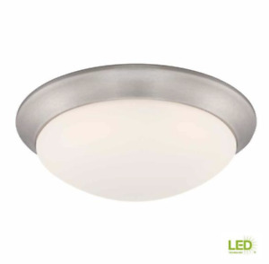Commercial Electric 11 in. Brushed Nickel LED Flush Mount Frosted Glass Globe
