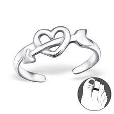 Tjs 925 Sterling Silver Toe Ring Cupid Arrow Love Heart Adjustable Jewellery