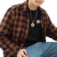 Mens Fashion Gold Plated Lion Head Pendant Hip Hop Chain Medallion Necklace  -)