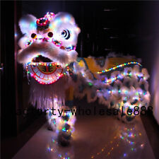 For Two Adult Chinese Folk Art Lion Dance Mascot Costume Led Light Wool Southern