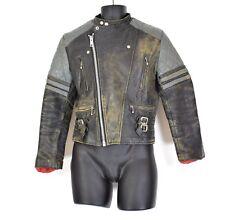 Men's VTG Black Grey 60s 70s REAL LEATHER Moto CAFE RACER Biker Punk Jacket XS