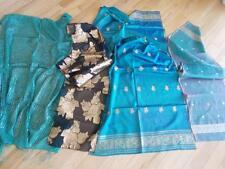 lot of 4 vintage Retro Metallic Thread Scarves 3 Silk 1 Fringed Cotton Scarf