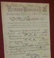 VICTORIAN POSTER RICHARD WARNER & CO INTERNATIONAL THEATRICAL & MUSICAL AGENCY