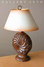 RARE! CARVED WOOD DECORATOR TABLE LAMP! Vtg Mid Century Rustic Retro Eames