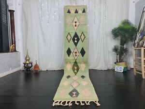 "Moroccan Boujad Handmade Runner Rug 2'2""x10'4"" Geometric Green Berber Wool Rug"