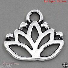 20 x Lotus Flower Antique Silver Charms - Meditation Pendants Blossom Beads 17mm