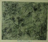 """Rudolf Rothe: """"Skizze mit Augen"""" Radierung, Widmung, Werknummer 200"""