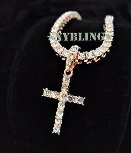 14k Gold Silver IP Tennis Chain Cross Pendant Choker Lab Diamond ICED Necklace