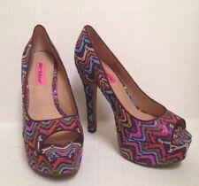 Betsey Johnson Sashh Open Toe High Heel Platform Shoes 7M Pink Purple Colorful