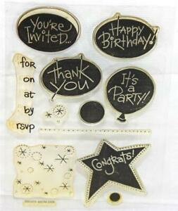 Stampendous Perfectly Clear Acrylic Cling Stamp Set Birthday Invitation SSC073